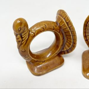 Vintage MCM Set 6 Ceramic Turkey Napkin Rings Brown Glazed Thanksgiving Signed